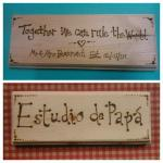 pyrographed pine door signs and plaques