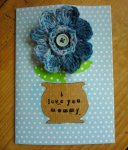 crochet flower brooch card