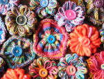 knitted and loomed flowers