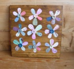 recycled paper and button flowers