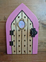 Pink hearts pyrographed fairy door