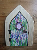 Watercolour grape hyacinth decoupage fairy door with floral wteath