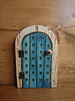 Blue wash fairy door with pyrographed hearts