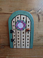 Pyrographed hearts tiny fairy door with wteath
