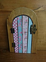 Pretty blues and pinks decoupage fairy door